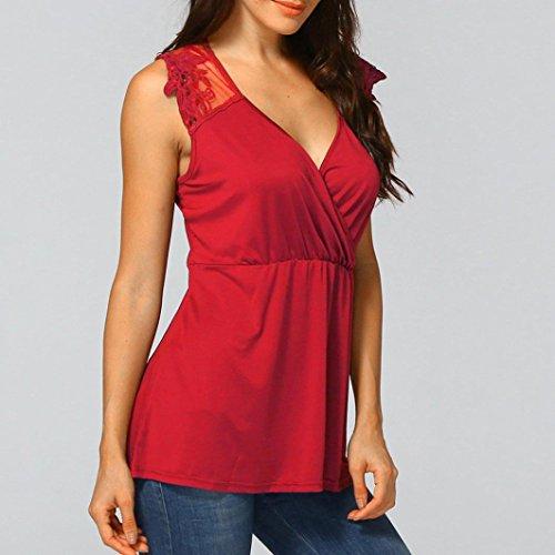Dentelle Dbardeur Grande Rouge Cher Et Femme sans Appliqu Chic Manche Shirt pissure Taille T Mode Gilet Pas Chemisier Sexyville Vest nqWTIxA1x