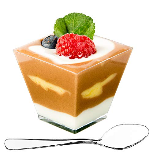 DLux 100 x 2 oz Mini Dessert Cups with Spoons, Square Short - Clear Plastic Parfait Appetizer Cup - Small Disposable Reusable Serving Bowl for Tasting Party Desserts Appetizers - With Recipe Ebook