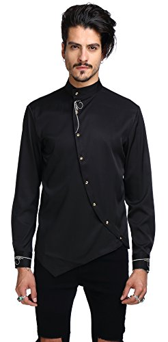 WHATLEES Mens Long Sleeve Extra Long Embroidery Button Down Dress Shirt B404-Black-L
