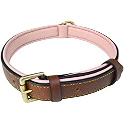 Soft Touch Collars - Padded Leather Dog Collar, Slimline Edition - Large, Brown and Pink