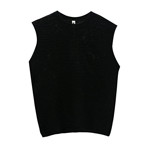 JOLLYCHIC Women's Sleeveless Knitted Pullover Sweater Vest (M, (Women Black Sweater Vest)
