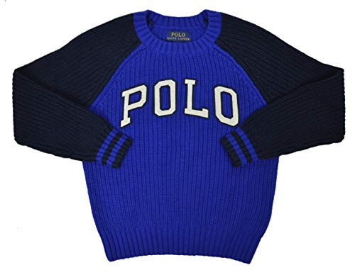 Polo Ralph Lauren Boys Two Tone Knit Crewneck Sweater Royal Blue (4T Toddlers)