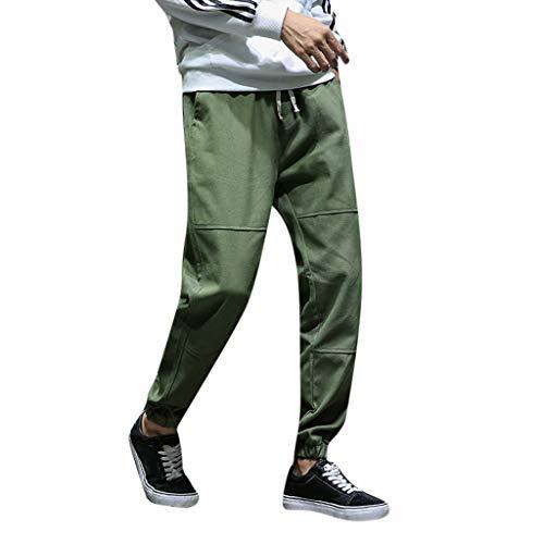 ANJUNIE Men's Autumn Winter Fashion Casual Small Feet Hallen Trousers Loose Ninth Pants(3-Army Green,XXXL)