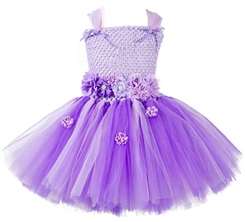 Tutu Dreams Princess Sofia The First Dress Costumes Kids Girls Light Purple Flowers Tutu Dress Fluffy Layered (Sofia, X-Large)