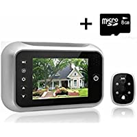 3.5 Inches TFT LCD Screen Digital Door Peephole Viewer Camera Night Vision Wide Angle+video Record+photo Shooting, 3.5 Door Viewer Doorbell Security Camera Cam with Do Not Disturb(dnd) Function(With 1 FREE 8 GB SD card )