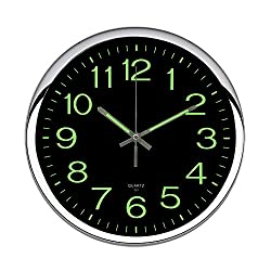 OCEST Wall Clock, 12 Inch Silent Non-Ticking Quartz Wall Clock with Night Light Large Display Battery Operated for Indoor Kitchen Office Bathroom Living Room Garage(Silver) (Upgrade Version)