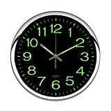 OCEST Wall Clock, 12 Inch Silent Non-Ticking Quartz Wall Clock with Night Light Large Display Battery Operated for Indoor Kitchen Office Bathroom Living Room Garage(Silver)