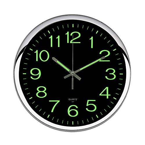 OCEST Wall Clock, 12 Inch Silent Non-Ticking Quartz Wall Clock with Night Light Large Display Battery Operated for Indoor Kitchen Office Bathroom Living Room Garage(Silver) ()