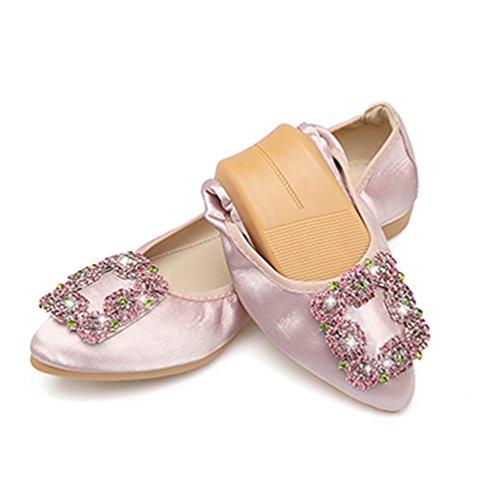Élégante 42 Rose Decoratiom Talon Plat Chaussure Et Légère 34 Ballerine Femme Confortable xwqA8qTP