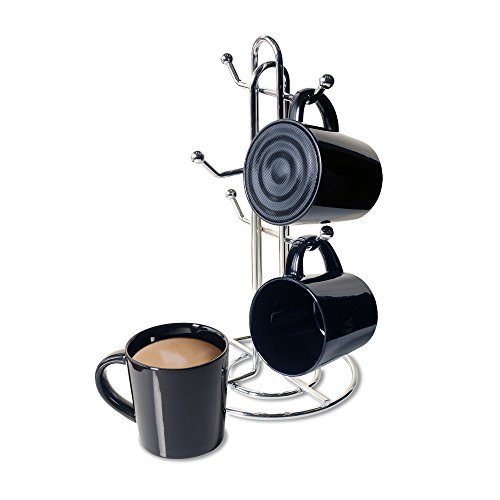 CTA Digital SP-BMSB Bluetooth Speaker Mug with Mug Stand & Porcelain Mugs - Pedestal Mug Cup