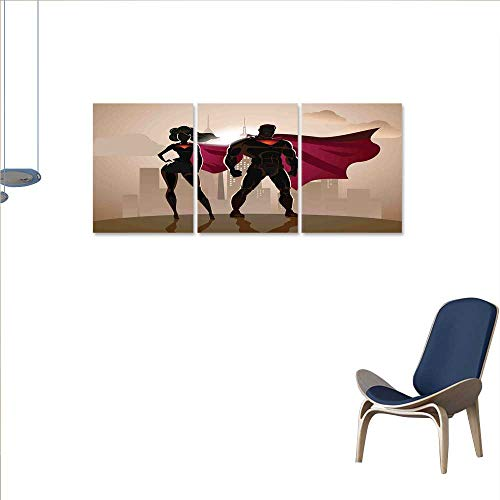 (Anniutwo Superhero everlands Art Flower Canvas Print Art Wall Deco Super Woman and Man Heroes in City Solving Crime Hot Couple in Costume Wall Sticker for Bedroom 24