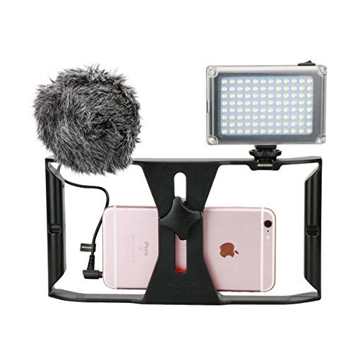 iphone filmmaking equipment smartphone rig 96 led light boya by mm1 9510