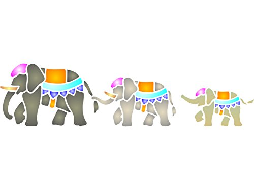 "[Indian Elephants Stencil - (size 18.5""w x 4.5""h) Reusable Wall Stencils for Painting - Best Quality Wild Animal Ideas - Use on Walls, Floors, Fabrics, Glass, Wood, Terracotta, and] (Animals That Starts With Letter E)"