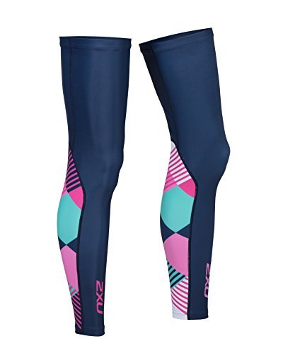 2XU Unisex Cycle Leg Warmers Navy/Pink Shapemania XS & Headband Bundle