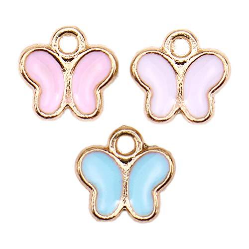 Enamel Butterfly Charm - JETEHO 30pcs Butterfly Pendant Enamel Butterfly Beads and Charm for DIY Jewelry Making Bracelets