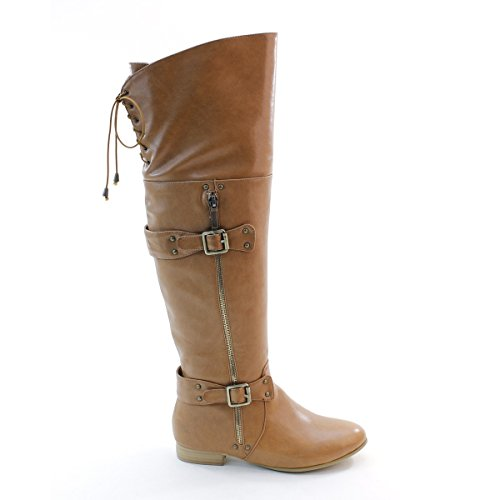 up Back New Brieten Buckles High Flats Thigh Lace Boots Womens BwxXZxqP