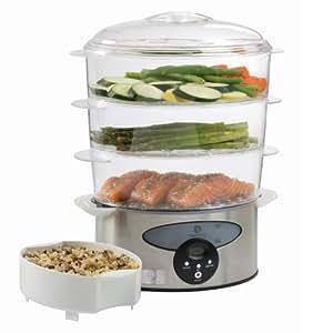 Master Chef MCSD3 3-Tier Stainless Steel Food Steamer, 9.6-Liter