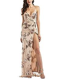 OWIN Women's Sexy Deep V Neck Maxi Sequin Halter Backless Split Long Dress