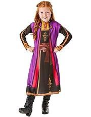 فستان باكمام طويلة مطبوع عليه شخصية انا من فروزن باللون الاسود والارجواني وبتصميم رسمي من روبيز - مقاسين