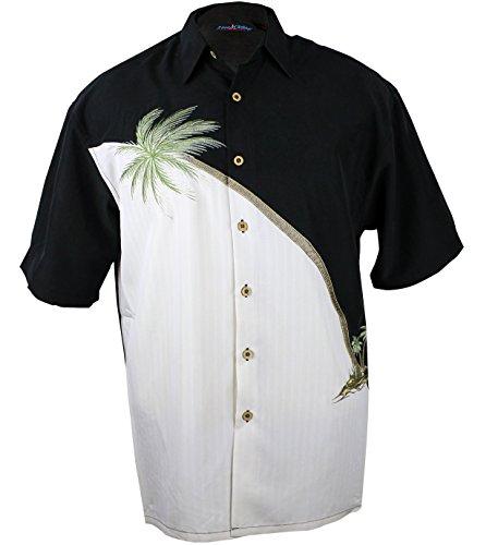3ac2df2bcec Maui Clothing Company Men s Embroidered palm tree panel aloha shirt L BLACK