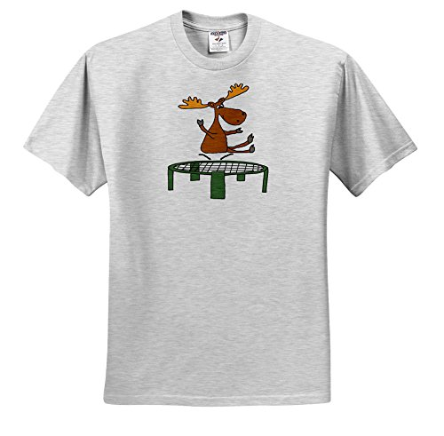 All Smiles Art Sports and Hobbies - Funny Cute Moose Jumping On Trampoline Cartoon - T-Shirts - Toddler Birch-Gray-T-Shirt (2T) (TS_263776_31) (Moose Cartoon)