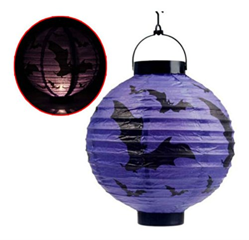 [LED Pumpkin Lantern Light Hanging Lamp Paper Spider Bat Halloween Decor Party Creepy Ornaments] (Face Pirate Makeup)
