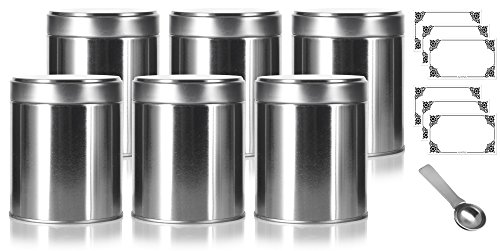 - Wide Round Twist Top Tea Tin Canister Containers (6 PACK) and Stainless Steel Metal Scoop Spoon + Labels, For Loose Leaf Tea, Coffee, Sugar Storage, Dried Herbs, Spices