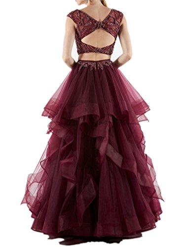 Braut La Brautmutterkleider Rock Burgundy Abendkleider Blau Tuell Linie Promkleider Perlen Steine Royal Marie A qH5HS