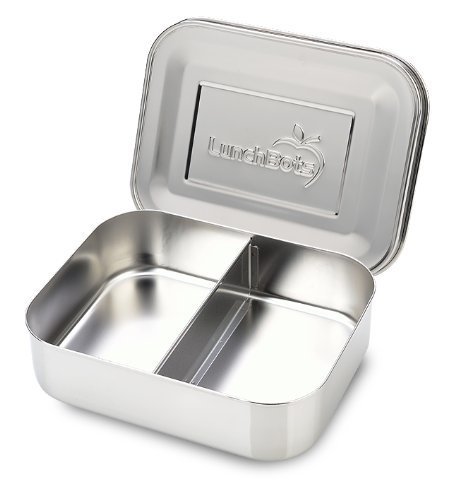 Duo Lunchbots (LunchBots Medium Duo Snack Container - Divided Stainless Steel Food Container - Two Sections for Half Sandwich and a Side - Eco-Friendly - Dishwasher Safe - Stainless Lid - All Stainless Steel)