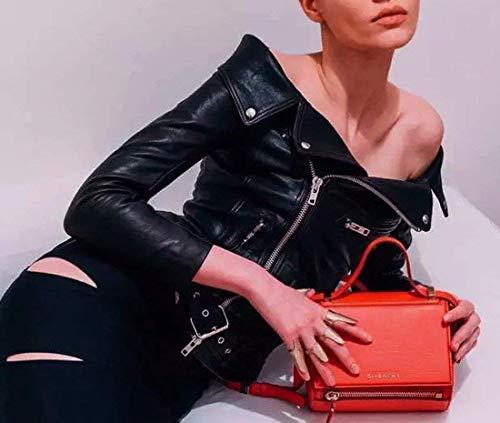 Veste Manteau Femme Off Long Schwarz Fashion Cuir Court Cuir Motard Noir Manches Tendance en Synthtique Outerwear Loisir Shoulder Automne Blouson De Slim Veste breal Transition Fit UwxqqYB