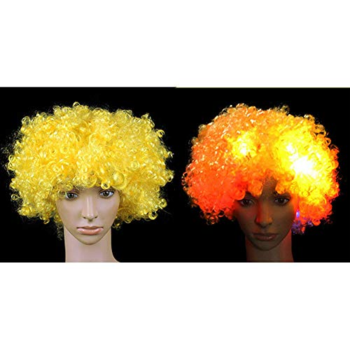 Light Up Flashing Curly Hair Wig Funny Fans