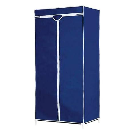 Armoire penderie tissu Bleu Meuble de rangement vêtement de chambre Hauteur 178cm Deuba Gmbh.Co&KG