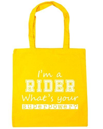 HippoWarehouse I'm a Rider What's Ihre Supermacht? Einkaufstasche Fitnessstudio Strandtasche 42cm x38cm, 10 liter - Gelb, One size