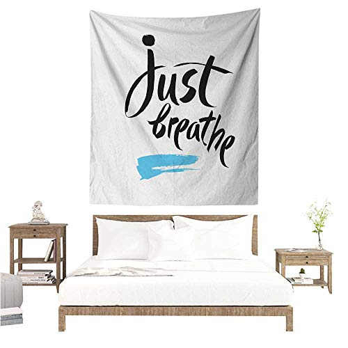 Wall Tapestry Just Breathe Inspirational Quote Calligraphy with Artful Blue Brushstroke Detail 60W x 91L INCH Suitable for Bedroom Living Room Dormitory ()