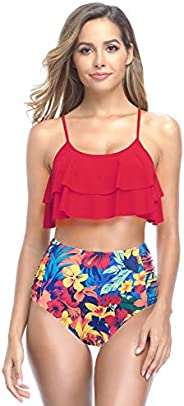 SHEKINI Girls Floral Printing Bathing Suits Ruffle Flounce Two Piece Swimsuits