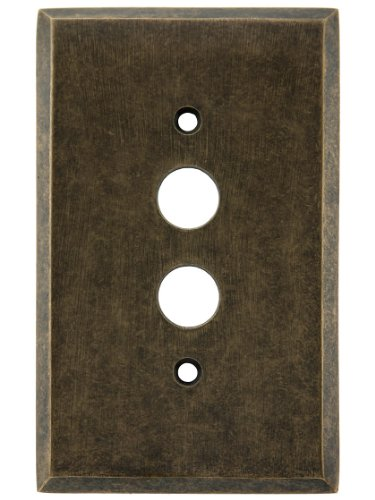 House of Antique Hardware R-010II-FBSP-S-MA Traditional Forged Brass Single Gang Push Button Switch Plate in Antique Brass