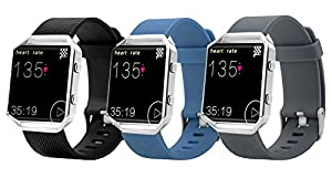 10 Colors Fitbit Blaze Band, BeneStellar Silicone Replacement Small Large Band Bracelet Strap for Fitbit Blaze Smart Fitness Watch ( Without Frame) (3-Pack Black,Gray&Blue, Large(6.7