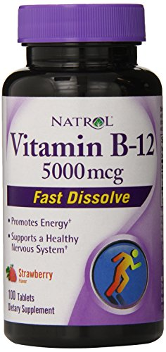 Natrol Витамин B12 HFF Быстрый Растворите Пищевые добавки, клубника, 5000 мкг, 100 Граф