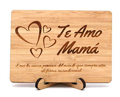 - Zuaart Mothers Day hanmade greeting card Te Amo Mama wooden bamboo in spanish - Eres la unica persona del mundo, que siempre está de forma incondicional- Mother's Day gifts Madre anniversary