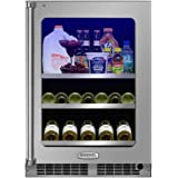 Marvel MP24BCG3LS 24 Professional Beverage Center with 20 Wine Bottle Capacity 2 Glide-Out Adjustable Glass Shelves Glide Out Display Cradle Door Lock and Glass Door with SS Frame: Left