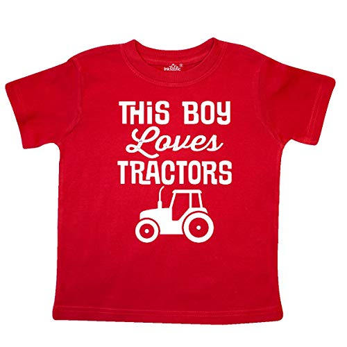 inktastic Farming This Boy Loves Tractors Toddler T-Shirt 3T Red ()