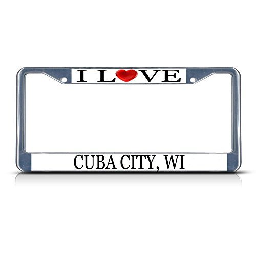 Sign Destination Metal License Plate Frame Solid Insert I Love Heart Cuba City, Wi Car Auto Tag Holder - Chrome 2 Holes, Set of 2 -
