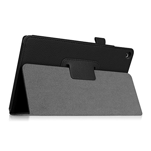 Fintie Folio Case for Amazon Fire HD 8 Tablet (Compatible with 7th and 8th Generation Tablets, 2017 and 2018 Releases) - Slim Fit Premium Vegan Leather Standing Protective Cover, Black