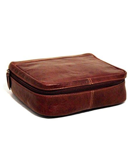 Vintage Genuine Leather Toiletry Bag Organizer (Dopp Kit) with Smooth (Kit Brown Bag Crafts)