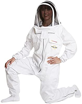 NATURAL APIARY MAX PROTECT BEEKEEPING SUIT (Sovereign Limited Edition) - WHITE - Complete (One Piece) - Clear View Fencing Veil - Maximum Protection - Professional & Beginner Beekeepers