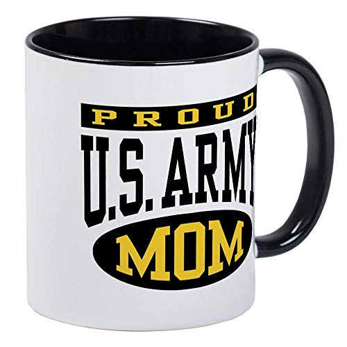 Proud U.S. Army Mom Mug - Ceramic RINGER 11oz Coffee/Tea Cup Gift Stocking - Army Ringer