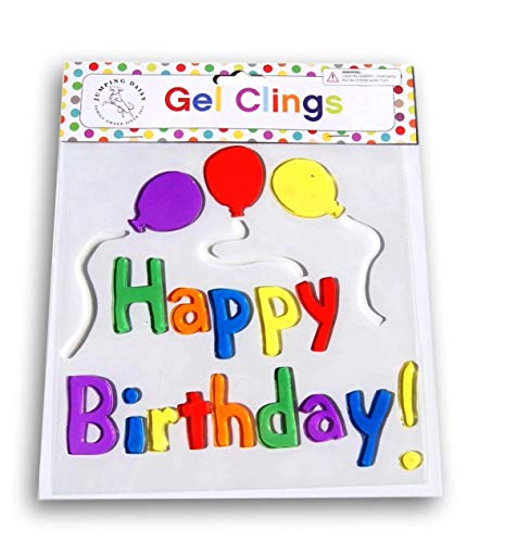 Jumping Daisy Small Decorative Window Gel Clings - Happy Birthday Balloons ()