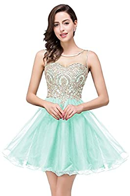 MisShow Women Lace Applique Rhinestone Backless A Line Short Homecoming Cocktail Dress