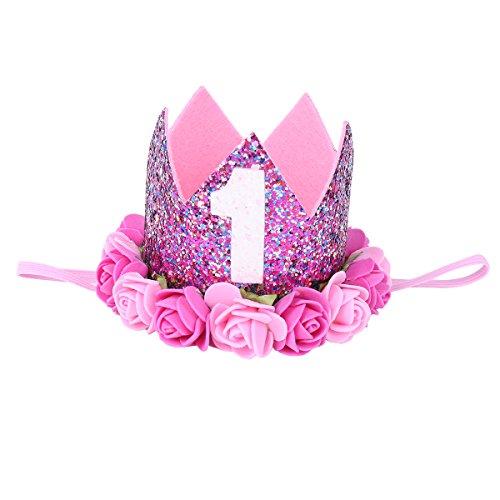 - Alvivi Baby Infant Rose Flower 1st Birthday Golden Crown Headband Hair Accessories Rose One Size