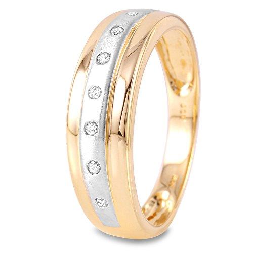 0.1 Carat Natural Light Champagne Diamond 14K Two Tone Gold Wedding Band for Men Size 9.5 (0.1 Diamond Bezel Ct)